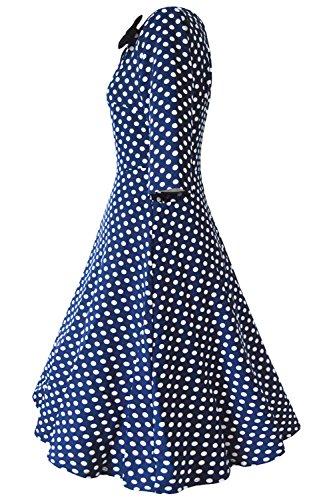 Babyonlinedress Robe de soirée/Cocktail Courte à Pois Rétro Vintage année 50 Style Audrey Hepburn Rockabilly Swing avec 3/4 Manches Marine Foncé