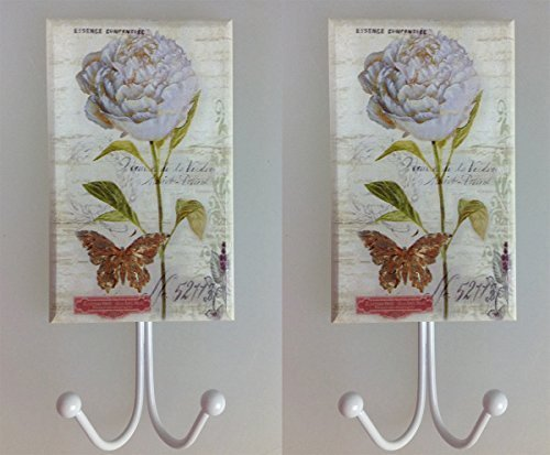 2 Stück Kleiderhaken weiße Hortensien XXL Holz Metall Garderobe Haken Huthaken Mantelhaken Wandhaken Landhaus Antik Design