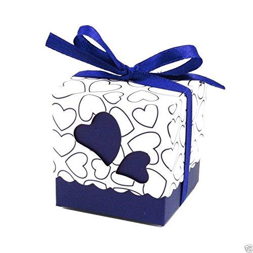 50pz bomboniere scatola cuore porta confetti segnaposto regalo con il nastro raso (bluette)