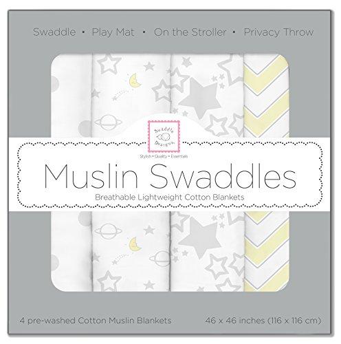 SwaddleDesigns Mantas Envolventes Muselina de Algodón, Estrella brillante, Plata, Set de 4