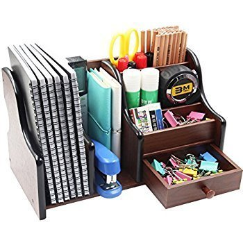 LUKZER Multi-Functional Wooden Desk Organiser, Pen stand / Pencil stand, Stationery Stand...