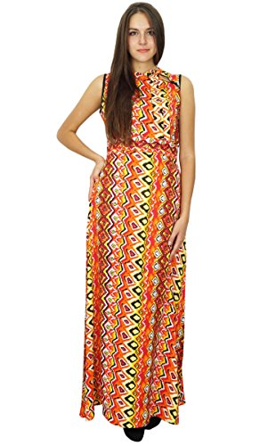 Bimba femmes Maxi Dress Summer Porter Rayon de Bohème Robes longues Multicolore