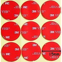 Almohadillas circulares de espuma acrílica, de la marca 3M, transparentes, de doble cara, de 15 mm de diámetro x 1mm de grosor,resistentes a la intemperie, con cinta adhesiva VHB resistente,modelo 4910, transparente