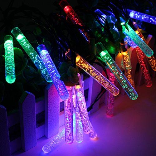 OOFAY LED Lichterkette Bunt 350Cm Meteorschauer Röhren Deko Leuchten LED Für Außen Garten Bäume Weihnachten Dekoration Solarenergie,Colorful (Weihnachten Party-stadt Stunden)