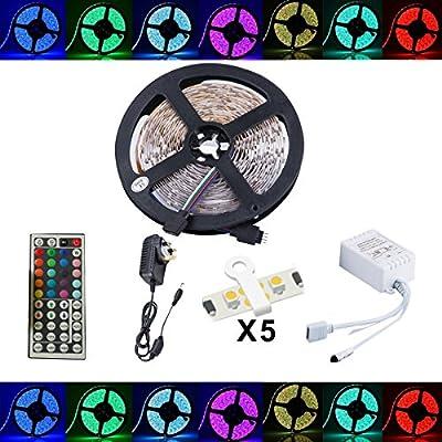 Led Strip Fairy Light Kit 5050 5M 150 Leds RGB + 44 Key Remote Controller + 12V 3A UK Charger - low-cost UK light store.