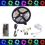 Led Strip Fairy Light Kit 5050 5M 150 Leds RGB + 44 Key Remote Controller + 12V 3A UK Charger