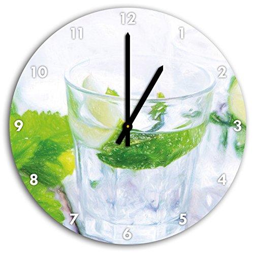 Mojito-Gläser mit Minze Kunst Buntstift Effekt, Wanduhr Durchmesser 48cm mit schwarzen spitzen...