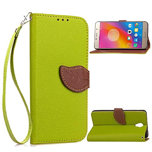 TAITOU Lenovo Vibe S1Lite Case, Vivid Knurling Tree Leaf Skin Lid Wallet Cover, Hanging Sling Credit ID Card Slot, New PU Leather Ultralight Awesome Case for Lenovo Vibe S1 Lite Green