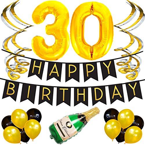 Sterling James Co. 30. Happy Birthday Girlande - Schwarz & Gold Deko Geburtstag, Luftballons, Pom Poms und Spiralgirlande Silber - Party Zubehör