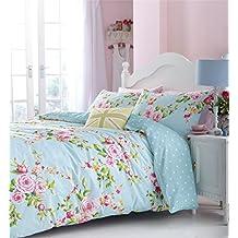Rosa azul Rosa Floral Mezcla De Algodón Individual Reversible 2piezas Juego de ropa de cama funda de edredón y, color azul huevo de pato sábana bajera ajustable