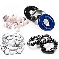 Hombres Ejercicio corporal y anillo relajante - Bandas de silicona para ejercicios masculinos O Forma 9 Anillos flexibles de diferentes tamaños
