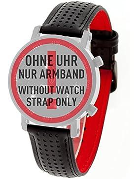 DETOMASO Spacy Timeline 20 mm Schwarzes Leder Uhren-Armband Schwarzer Edelstahl-Dornschließe Neu AB_360