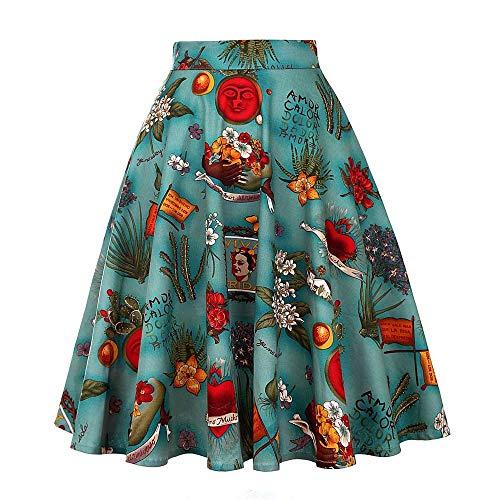 Vintage Frida Kahlo década de 1950 Estampado Floral de Cintura Alta Swing Falda