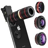 AFAITH lente de cámara para teléfono, 5 en 1 kit de lente para teléfono celular, 12 lentes de teleobjetivo + lente ojo de pez de 180° + gran angular de 0.36x + lente macro 15x compatible con iPhone XS