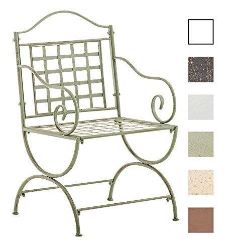 CLP Chaise de Jardin Lotta en Fer avec Accoudoirs | Chaise de Balcon Fabriquée à la Main en Métal | Chaise de Terrasse de Style Antique Nostalgique Disponible en Différentes Couleurs Vert Antique