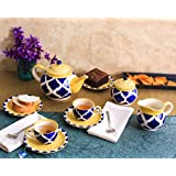 Teaset Ceramic/Stoneware In Blue Umrao (Kettle, Sugar & Milk Container, Cups With Saucer) (Set Of 15 Piece) Handmade By Caffeine