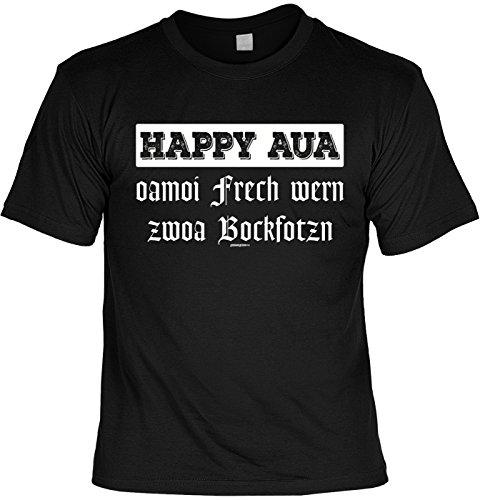 Oktoberfest Tshirt - Sprüche Volksfest - T-Shirt Bayrische Sprüche Dialekt : Happy AUA oamoi frech wern Zwoa Bockfotzn - Tshirt Wiesn Oktoberfest Volksfest Gr: L