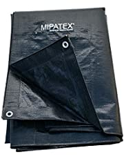 Mipatex Tarpaulin Sheet Waterproof Heavy Duty 12ft x 18ft, Poly Tarp with Aluminium Eyelets Every 3 feet - Multipurpose 200 GSM Plastic Cover for Truck, Roof, Rain, Outdoor or Sun (Black)