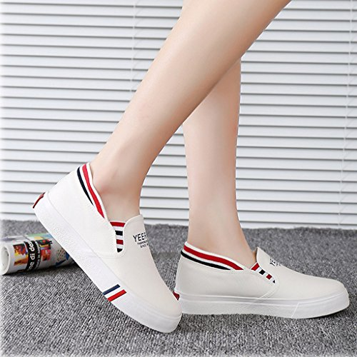 Minetom Donne Estate Autunno Scarpe Di Tela Moda Loafer Scarpe Leisure Fitness Espadrillas Bianco