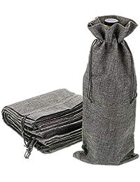 BTSKY - Bolsas de yute reutilizables y lavables para botellas de vino (12 unidades,
