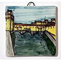 Ponte vecchio Florence - Hand-decorated ceramic tile, size 10x10x0,8 cm. Made in Italy in Tuscany, Lucca certified.Created by Davide Pacini.