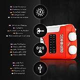 Duronic Hybrid Radio AM / FM – Solarenergie und USB-Ladegerät – Ideal für Camping, Wandern, zu Hause oder im Garten / Aufladbare Kurbel - 4