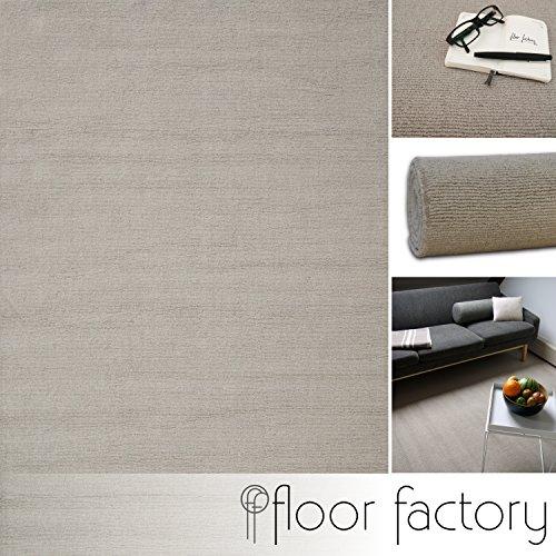 Moderner Designer Wollteppich Loft Natural beige 10x10cm Muster - reine Wolle in leuchtenden modernen Farben