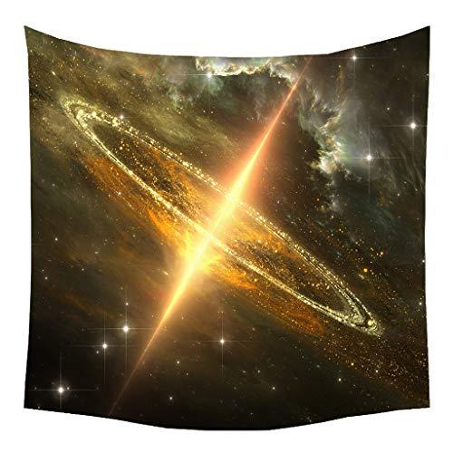 Xmiral Tapisserie Universum Mond Sterne Raum Yogamatte Picknickdecke Wandteppich 130 x 150 cm(F)