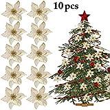 Justdolife 10PCS Fiore di Natale Ornamento Decorativo dell Albero di Natale del Fiore Artificiale di Scintillio
