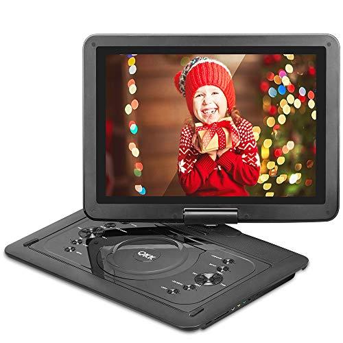 """QKK 14.1"""" tragbarer DVD Player, Auto DVD Player, 6 Stunden Akku, 270°drehbares HD Display, unterstützt USB und SD Karte, USB Datenreplikation Funktion, HD DVD Player, Schwarz."""