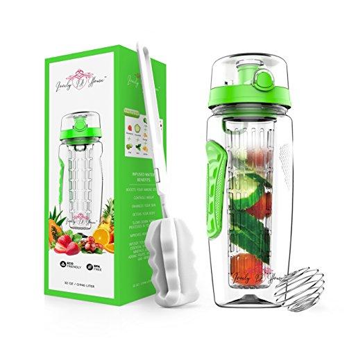 Fruit-Ei Wasser Flasche 32Oz: nach Honig Wasser und Tee INFUSION für Hydration, Protein Shake Sport, auslaufsicherer Deckel, lange-Ei Korb-mit Ärmel, von Bürste & Mix Ball, grün, 32 oz
