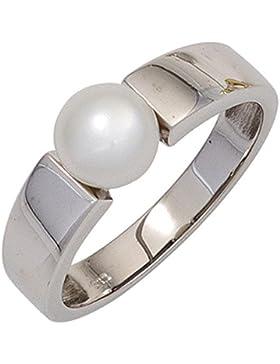 JOBO Damen Ring 333 Gold Weißgold 1 Süßwasser Perle Goldring