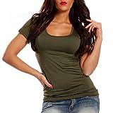 Damen Basic T-Shirt O Neck Top, Farbe:Khaki;Größe:M/L