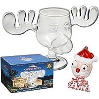Prodotto con vetro Alce Moose Mug AUS Dem film bella natale con Santa Pop Eyes Keychain su licenza ufficiale National Lampoon S Christmas Vacation vetro in foto box