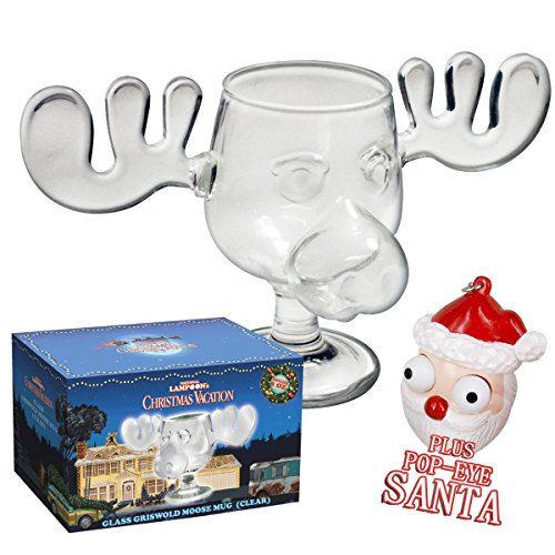 Moose Mug aus dem Film Schöne Bescherung inklusive Santa Pop Eyes Schlüsselanhänger Offiziell lizensiertes National Lampoon's Christmas Vacation Glas in Fotobox ()