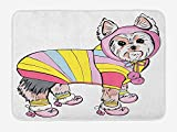 Icndpshorts Yorkie Bath Mat, Cute Dog with Sports Gear on Running Gear on Going for a Walk Colorful Dress Fun, Plush Bathroom Decor Mat with Non Slip Backing, 23.6 x 15.7 Inches