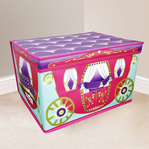 Jumbo großes Spielzeug Buch Betten Wäsche Kinder Kinder Aufbewahrungsbox Truhe-Princess Pink Kutsche mit Deckel violett