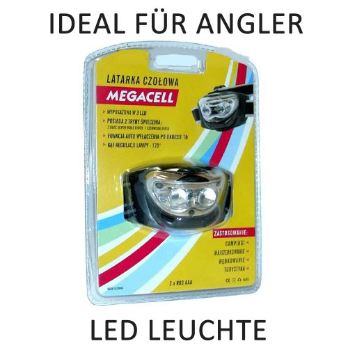 3 LED Stirnlampe exkl. 3x AAA Micro Batterien / Angelleuchte / Rotlicht Kopfleuchte / Headlight Outdoor