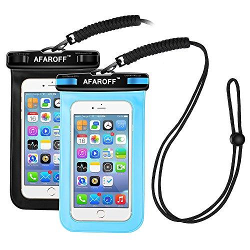 Wasserdichte Handyhülle, Afaroff 2 Stücke. IPX8 zertifiziert, wasserdicht und staubdicht. Geeignet für Surfen, Skifahren, Schwimmen, Tauchen, Angeln und andere Aktivitäten im Schießen. Passt für ein iphone, Samsung Galaxy, Huwei und alle anderen bis zu 6 Zoll. (Schwarz + blau) Samsung-handy-beutel