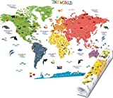 HomeEvolution - Grand autocollant mural amovible éducatif - motif carte du monde - décoration idéale pour une chambre d'enfant ou une salle de jeux