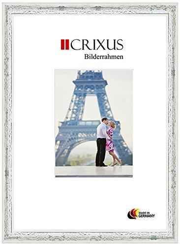Crixus40 Echtholz Bilderrahmen für 40 x 60 cm Bilder, Farbe: Weiß Grün Landhaus, Massivholz Rahmen in Maßanfertigung mit Acryl Kunstglas (Bruchsicher) und MDF Rückwand, Rahmen Breite: 40 mm, Aussenmaß: 46,9 x 66,9 cm
