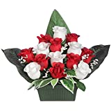 Ligne Déco 461310WO - Fiori artificiali per cimitero, vaso con zavorra, composizione di boccioli di rosa e gypsophila, 28 cm
