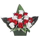 Ligne Déco 461310WO Fleurs Artificielles Funéraires en pot lesté - Jardinière de Boutons de Roses et Gypso 28 cm