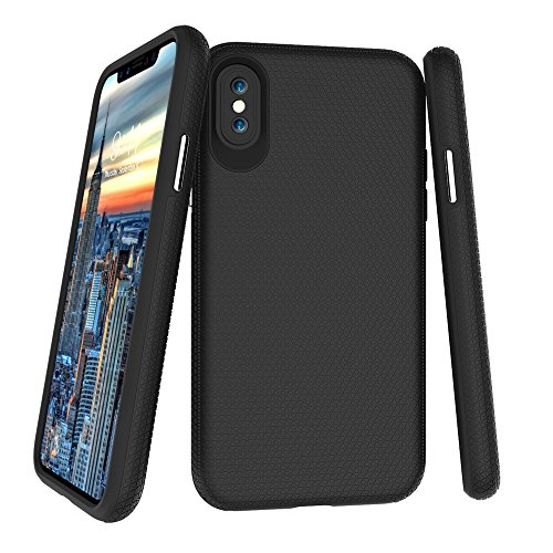 EKINHUI Case Cover Dual Layer Double Schutz PC + TPU Drop Resistant Shockproof Hybrid Armor Shell Cover Case für iPhone X ( Color : Green ) Black
