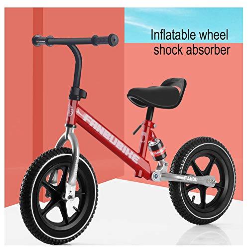 4 Pneumatische Räder (CHRISTMAD 12 Zoll Balance Bike -Einstellbare Sitzhöhe Kohlenstoffstahlgestell Pneumatisches Rad Ultra-Leichtgewicht + Schutzausrüstung, 2-6 Jahre Alt, 80-120 cm,B)