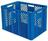 2x Eurobehälter / Stapelkorb, LxBxH 600 x 400 x 410 mm, blau, Inhalt 83 Liter