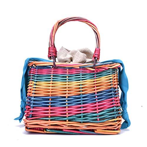 Steraber Nette Rattan-Taschen-Quadrat-Stroh-Taschen für Frauen-Sommerferien-Strand-Tasche (Stroh-hüte Bulk)