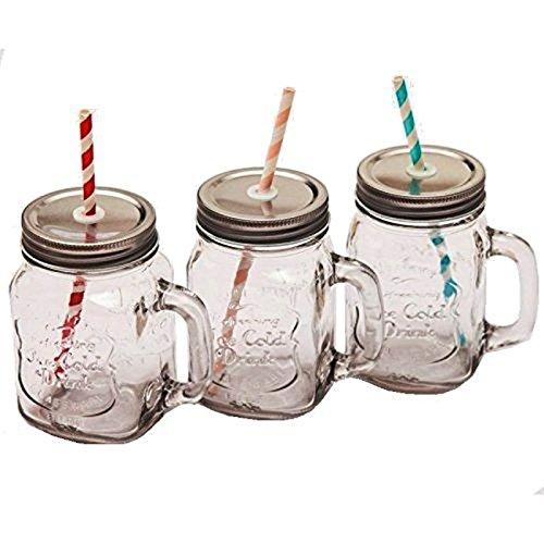 esto24® 3 Vintage Trinkgläser 0,5 Liter mit Deckel und Strohhalm-der Sommertrend
