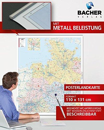 BACHER Postleitzahlenkarte Nord-West, Maßstab 1:350 000, Papierkarte gerollt, folienbeschichtet und beleistet: Schleswig-Holstein - Hamburg, ... Ortsteile mit der Sterndarstellung.