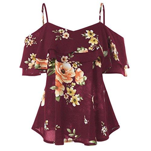 ESAILQ Sommerkleider Damen Kurzarm V-Ausschnitt Strand Blumen Kleider Abendkleid Knielang(M,Wein) -
